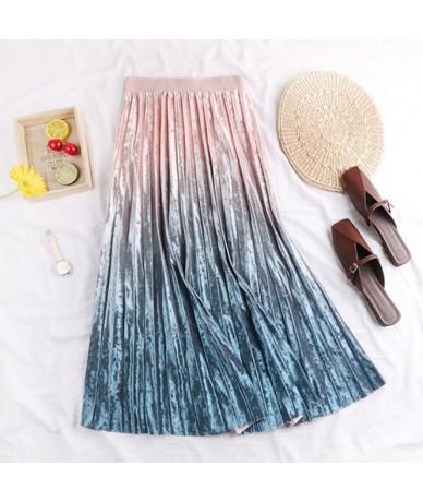 Gradient Skirt Pleated Long Skirt Woman Elegant High Waist A-Line Pleated School Midi Skirt Metallic Multi-Color Female Autu...