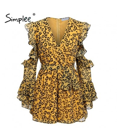 Sexy v-neck leopard print women playsuit Elegant cold shoulder short jumpsuit romper Sashes summer casual overalls 2019 - le...