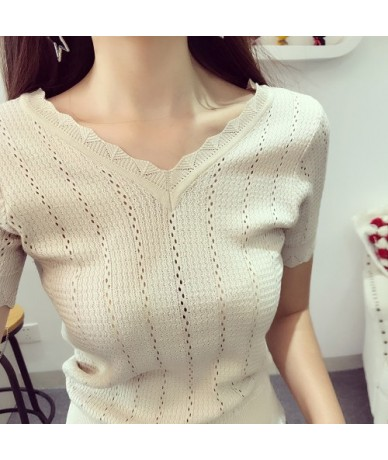 Summer New Vintage Solid Lace Tops Tee Hollow Short Knitted Sweater Short Sleeve Korean Women Tops - beige - 4B3904178961-1