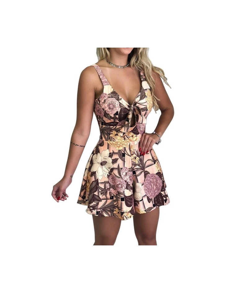 New Summer Sexy Camisole Bow Lace Up Print Beach Style Playsuits Hot New Trends 2019 - A6 - 4000078203263
