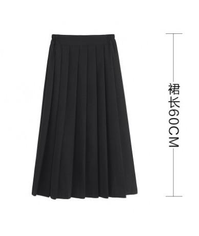 Women Summer High Waist Japanese Preppy Style Skirt High School Girls JK Suit Sailor Uniform Solid Color Plus Size Pleated S...