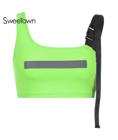 Casual Florescence Green/Pink Streetwear Crop Top Women Summer 2019 Reflective Striped Patchwork Irregular Tank Tops - green...