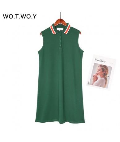 Summer Polo Shirt Ruffles Dress Women Sleeveless Kawaii Pink Blue Plus Size Loose Lady Dress Preppy Style Midi Dress - 8225G...