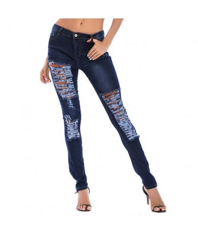 jeans woman Plus Size Hole Jeans Fashion Womens Pocket Hole Denim Button Zipper Sexy Slim джинсы Jeans ripped jeans for wome...