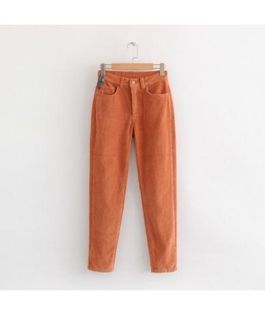 Vintage Candy Color Corduroy Pants Winter Woman Mid Waist Ankle Length Loose Harem Pants Female Casual Warm Long Pants - pic...
