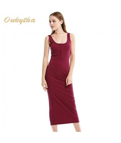 2018 Summer Style Women Maxi Dress Sleeveless Sexy Deep U-neck Vintage Dress Hign Waist Long Dress With Buttons J15003 - Red...