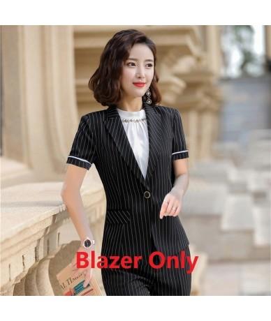 Summer Female Black Stripe Blazer Women Jackets Short Sleeve Office Ladies Work Wear Clothes OL Styles - Black - 56111124261...
