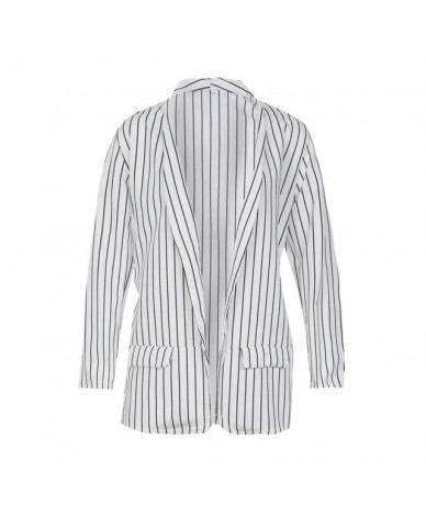 Fashion Casual Blazers Slim Fit Women Formal Jackets Office Work Open Front Notched Striped Ladies Blazer Coat - White - 4O4...