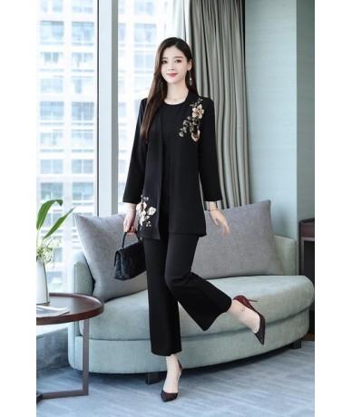 2019 Autumn Embroidery 3 Piece Sets Outfits Women Plus Size Vest+cardigan+pants Suits Elegant Korean Office Sets Black Wine ...