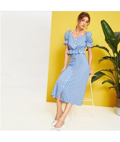 Polka Dot Button Front Ruffle Trim Peplum Top and Skirt Set Spring Summer Puff Sleeve Blue Sweetheart Women Two Piece Set - ...