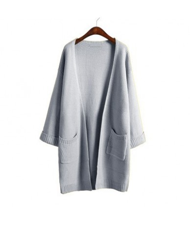 2019 ulzzang Girl Casual Long Knitted Cardigan Autumn Korean Women Loose Solid Color Pocket Design Sweater Jacket Pink Beige...