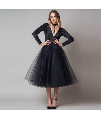 Fashion Black Tea Length Tulle Skirts Women Zipper Style A-line Puffy Tutu Skirt Faldas Saias Custom Made Female Bottom Chea...