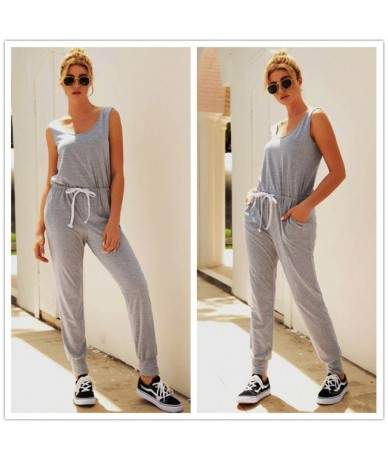 Autumn Sexy Off Shoulder Lace-up Pockets Jumpsuit Women casual solid One Piece Outfit Streetwear Rompers Overalls - 03 Gray ...