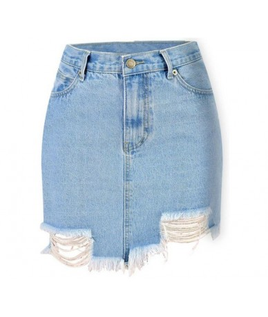 2019 Summer Sexy Female Bodycon Skirts For Womens Pencil Denim High Waist Ripped Jeans Woman Tassel Skirt White Jeans Trouse...