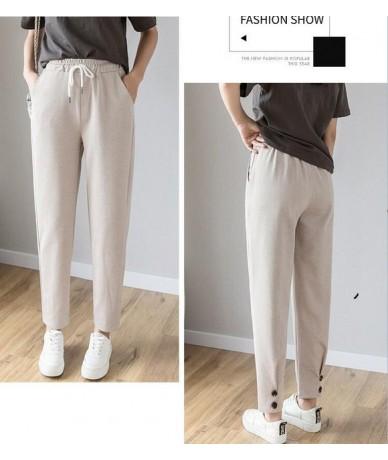 2019 New Women Harem Pants Casual Loose Solid Elastic Waist Pants Spring Summer Sprort Pants Female Elastic High Waist Trous...