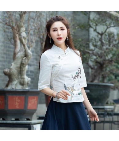 Traditional Chinese shirt faldas mujer moda 2019 female elegant ethnic mandarin collar navy blue white embroidery blouse - W...