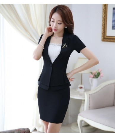 Novelty Black Fashion Slim Professional Business Women Suits Jackets And Skirt Formal OL Styles Summer Ladies Blazers Set - ...