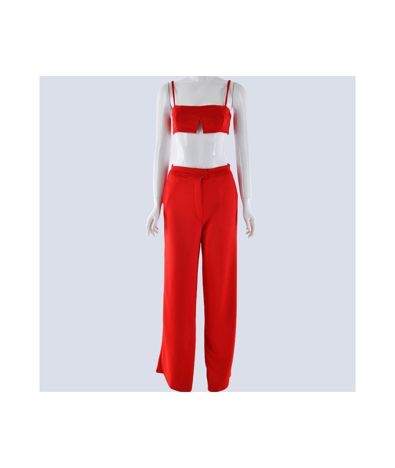 Slim Jumpsuit Women Sexy Slash Neck Bodycon Women Rompers crop trop and pants 2018 Summer Festival two piece Jumpsuit - Red ...