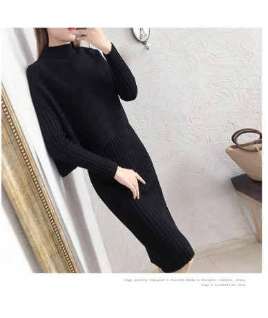 Winter Knitted 2 Pieces Sets Solid Dress & Vest Sweater Set Full Sleeve Bodycon Dress Knitting Suit - grey - 4F3062459442-5