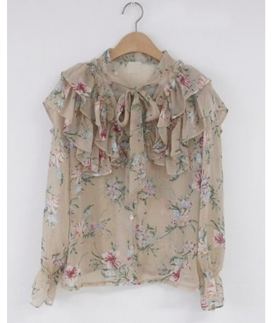 2019 Cute Sweet Bow Tie Tops Hot Sales Women Korean Style Bow Blouses Shirts Female Girls Purple Floral Vintage Top Blouse 2...