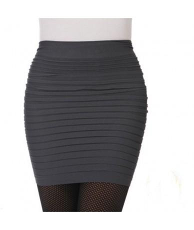 2019 Summer Women Skirt High Waist Knitting Pleated Skirt Candy Color Plus size Elastic Knitted Mini Skirts Sexy Short Skirt...