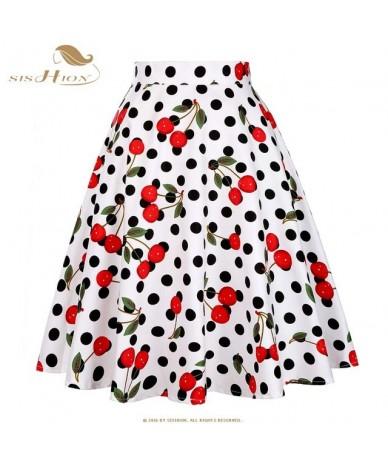 Cotton Black Skirt Womens Sexy Midi Summer Skirt Floral Polka Dots Black Red Blue Plus Size High Waist Plaid Women Skirt - C...