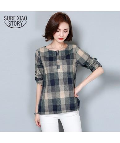 Women blouse and tops 2019 ladies tops Plaid Shirt shirts blouse shirts Long Sleeve Korean clothing Female Tops Blusas 926F ...