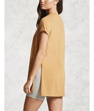 Streetwear T Shirt Women Side Split Tees Casual Summer Tee Shirt Womens Maxi Slit T-shirt Tops Womens Clothing - 2 - 4I39719...