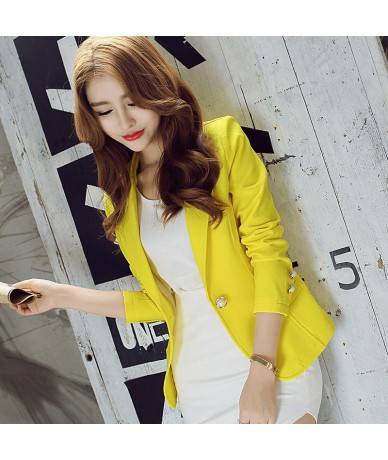 (Green Yellow Black) 2017 Women Blazers And Jackets New Long-sleeved Small Women Suit Version Slim Ladies Blazer Femme - YEL...