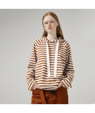 Vintage Women Hoodies Autumn Winter Hooded Striped Pattern Casual Women Casual Cotton Jumper Sweatshirt - Yellow - 5S1111180...