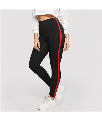 Striped Tape Side Skinny Leggings Womens Active Wear Leggings 2018 Fitness Autumn Workout Trousers And Pants - Black - 41307...