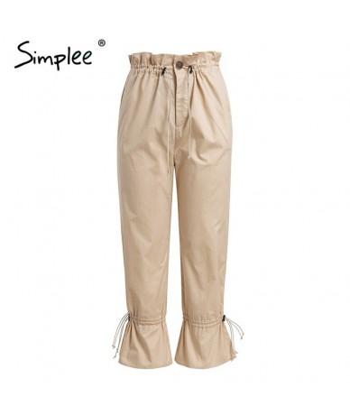 Drawstring sash flare pants women Streetwear high waist pleated casual pants 2018 Autumn winter cotton trousers bottom - Kha...