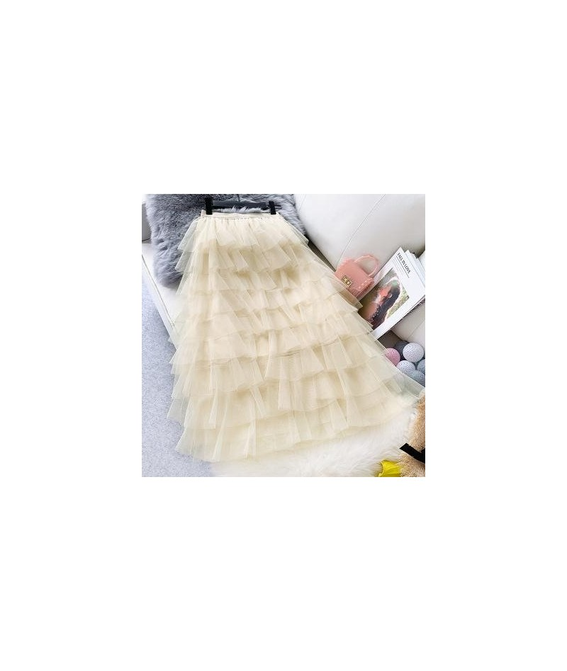 2019 Summer New Arrival Encrypted Multi-layer Tulle Skirt Fairy Layer Skirt Woman Long Skirt 5 Colors Available - Apricot - ...
