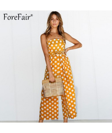 Polka Dot Camisole Jumpsuit Women Rompers Summer Woven Strapless Belted Wide Leg Pants Jumpsuit Casual Overalls Femme - YELL...