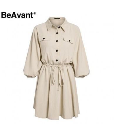 Lnen cotton summer dress shirt women Lantern sleeve loose short dress Buttons casual office high waist dresses ladies - Khak...
