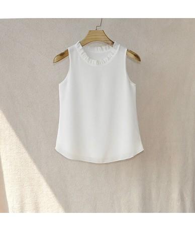 2018 Summer New Women Tank Tops Solid Color Shirt O-Neck Chiffon Blouse Female Sleeveless Blouse Plus Size Shirts - White - ...
