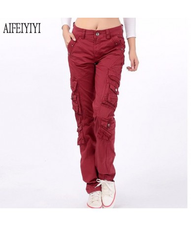 Denim Pantalon Femmes 2019 Spring Men/Womens Army Red Multi-Pocket Baggy Jeans Cargo Pants Loose Straight Military Trousers ...