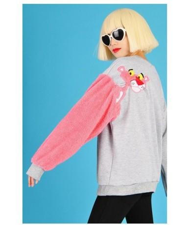 Pink panther Faux Fur women vintage Harajuku Kpop patchwork Sweatshirt Kawaii Tracksuit Moletom Feminino - Gray - 4T39401006...