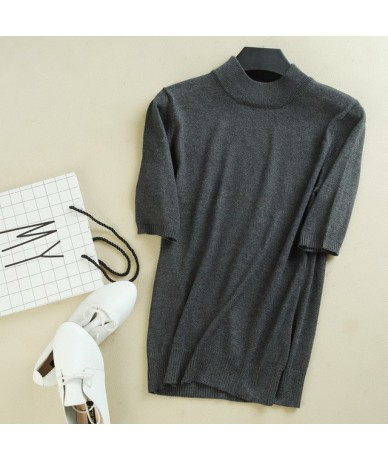 2017 Women's Cashmere Turtleneck Short Sleeve Knitted Pullover Tee Base T Wool Cashmere Brand Sweater Women Jumper - Dark Gr...