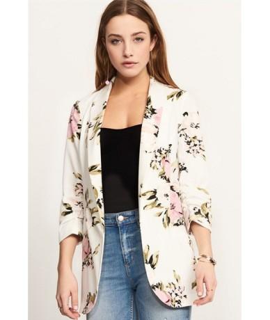 Elegant Floral Print Patchwork Casual Women Coat Notched Collar Pockets Autumn Ladies Suit Jacket Coat Women Jackets 2018 - ...