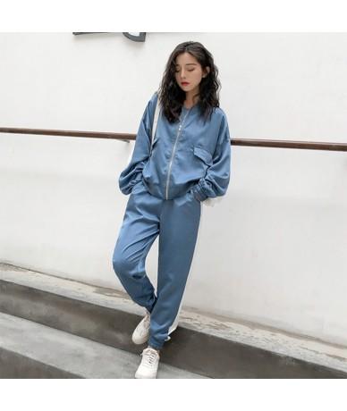 Autumn outfit women 2019 casual tracksuit women 2 piece set top and pants patchwork zipper outwear sweatsuit - Blue - 4Q3087...