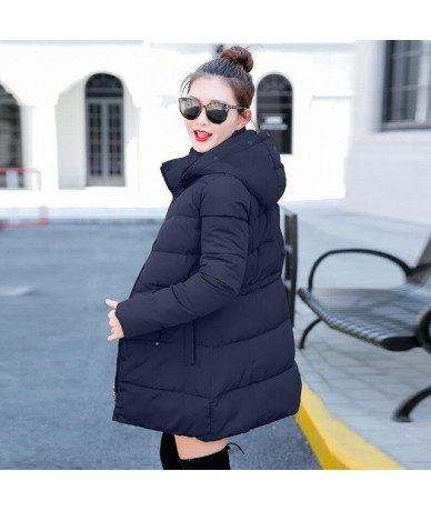 parka women 2019 Winter Jacket Women Coats Hooded Coats Female Parka Thick Cotton Padded Lining Winter Female Coats - Blue -...