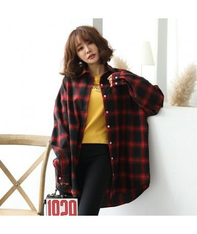 Oversize Trendy Women Long Sleeve Shirt Womens Single Breasted Plaid Loose Female Shirts Females Korean Style Casual Student...