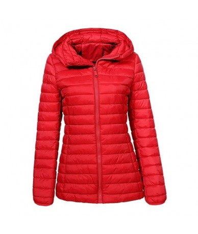 Women 2018 Basic Autumn and Winter Light Weight Thin Slim Fit Padded Coats Ladies Casual Streetwear Slim Fit Jackets - Red -...