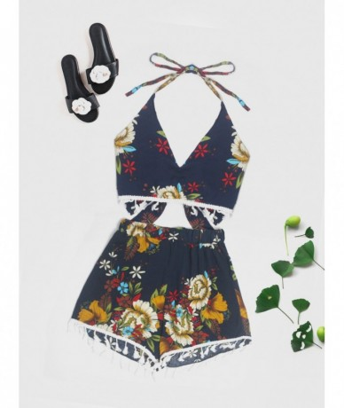 Beach Sexy Fringed Strap-on Shorts Suit - 4000076670854