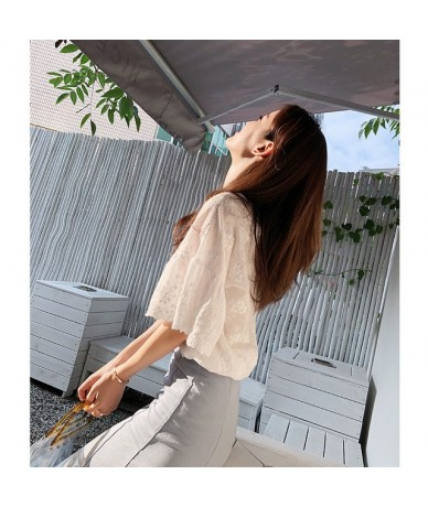 2019 new short sleeve blouses white floral V neck shirts lace sweet female clothing casual chiffon women tops MX18B4580 - Wh...