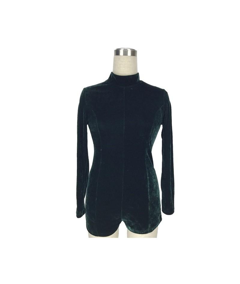 2018 new winter velvet bodysuit green overalls Casual macacao rompers women jumpsuit long sleeve combi short coveralls dunga...