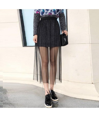Women Spring Summer Mesh White Skirt Casual Vintage Sexy High Waist See Through Lace Hollow Out A Line Bodycon Black Skirt 1...