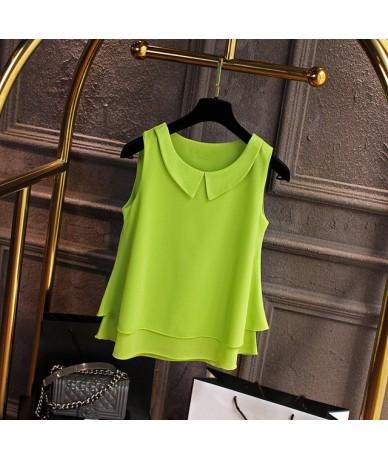 Women's blouses 2019 New sleeveless Peter pan Collar shirt For Women Chiffon Blouse Summer Casual Plus size 5XL Female Tops ...