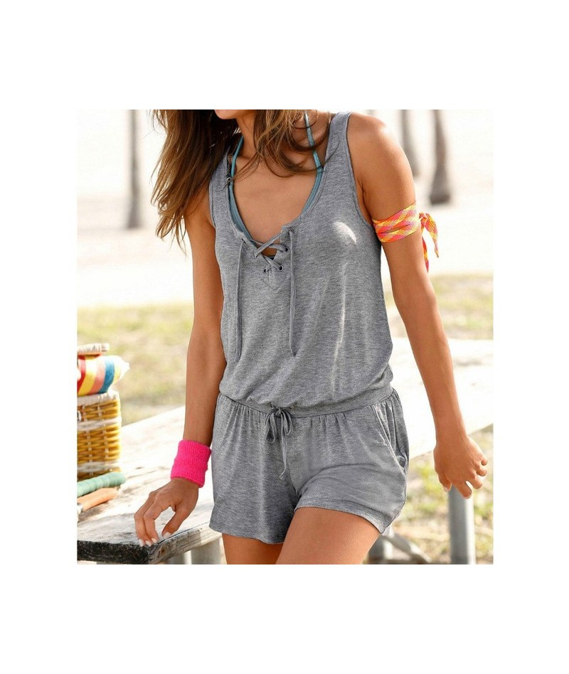 2019 Summer Women Short Playsuits Beach Rompers Femme Solid Sleeveless Pockets Playsuit Overalls Woman Female Plus Size GV92...